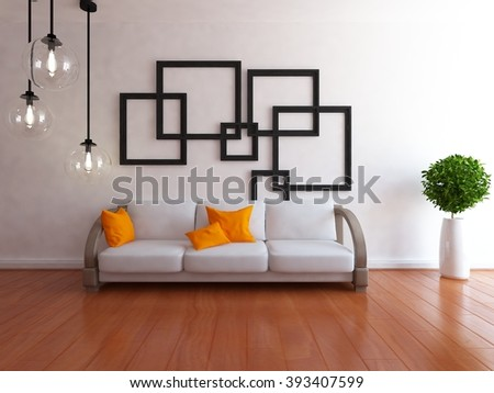 white room with sofa.3d interior.3d illustration - stock photo