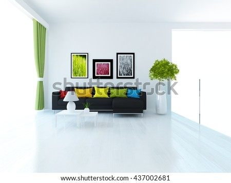 White Room Sofa Living Room Interior Stock Illustration 437002681 ...