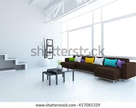 White room with sofa. Loft interior.Living room interior. Scandinavian interior. 3d illustration - stock photo