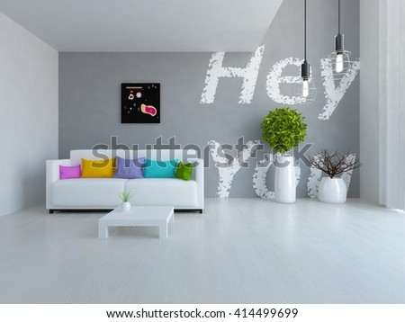 White room with sofa.Scandinavian interior. 3d illustration
