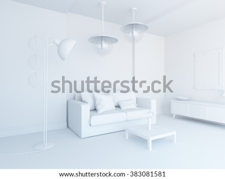 white room with sofa. White interior. 3d illustration