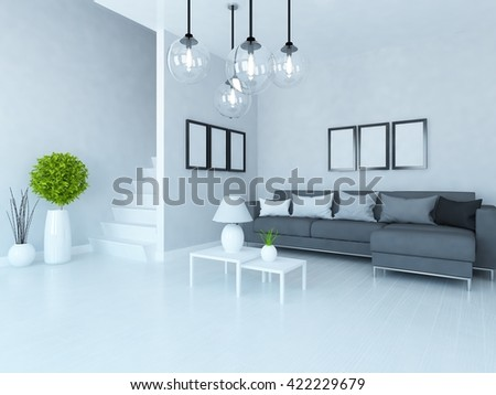 White room with stairs and black sofa. Living room interior. Scandinavian interior. 3d illustration - stock photo