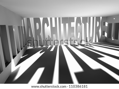 white room with sun light coming through the windows and architecture text - stock photo