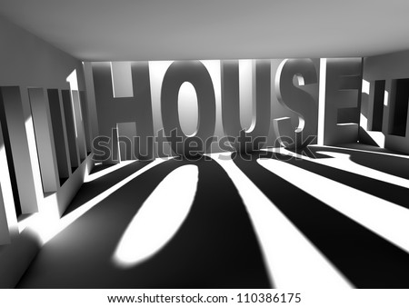 white room with sun light coming through the windows and house text - stock photo