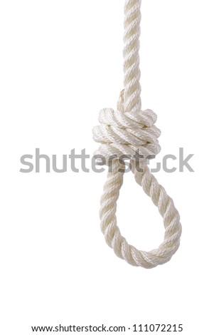 white rope noose - stock photo