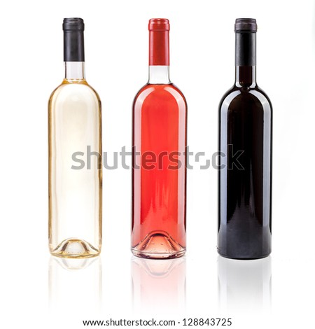 white rose and red wine - stock photo