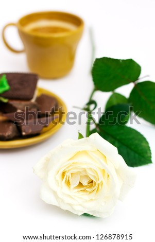 White rose with cup of coffee, over white, shallow depth of field - stock photo