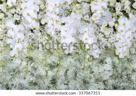 White roses and white orchids on white roses wall - stock photo