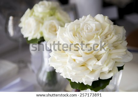 White roses, elegant bouquet tied.