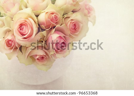White roses  in a vase - stock photo