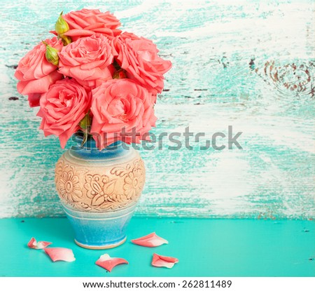 White roses in vase. Mother day, wedding background - stock photo