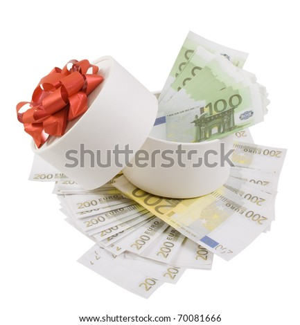 White round box full of banknotes for one and two hundred euros - stock photo