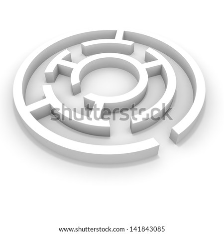 White round maze. 3D illustration. - stock photo