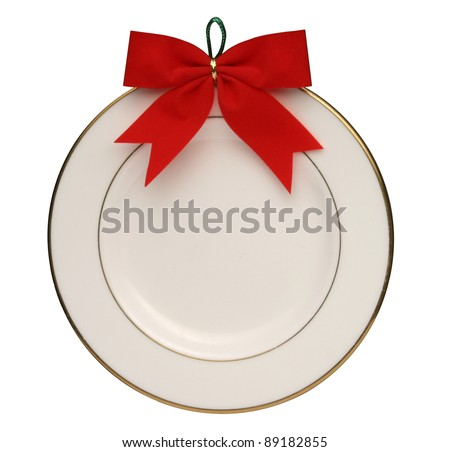 White round plate. - stock photo