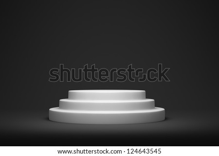 White round podium on the gray background