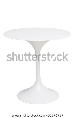 white round table isolated white - stock photo