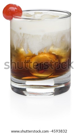 White Russian Cocktail - isolated on white - stock photo