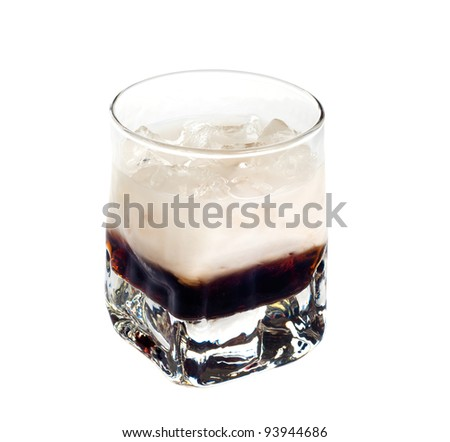 White russian cocktail isolated on white background - stock photo