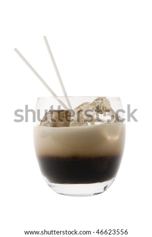 White Russian mixed drink on white background - stock photo