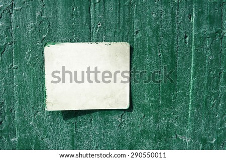 White rusty grungy old sign on a cement wall - texture with rain droops background, ready for your text - stock photo