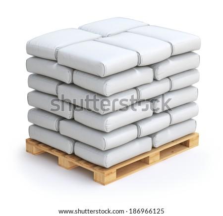 White sacks on wooden pallet - stock photo