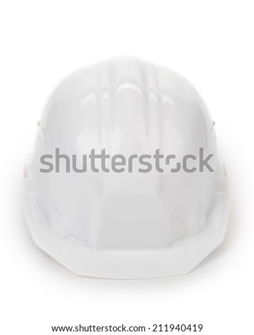 White safety helmet. Isolated on a white background. - stock photo