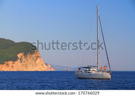 White sailboat near the shores of Adriatic sea  - stock photo