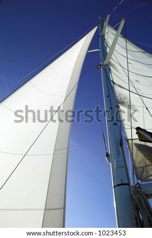White sails, blue sky abstract
