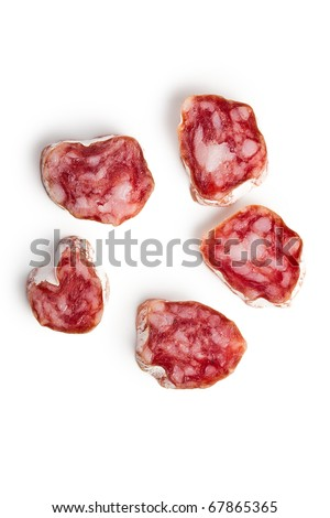 white salami sausage on white background - stock photo