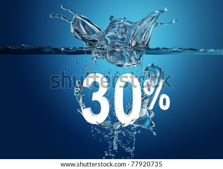 White sale percent dropped into water with splash  on deep blue background - stock photo