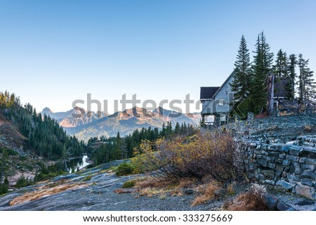 white salmon lodge,scenic view in Mt. Baker Snoqualmie National Forest Park,Washington,USA. - stock photo