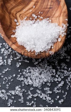 white salt on black background - stock photo