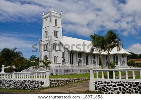 white samoan church on a clear day