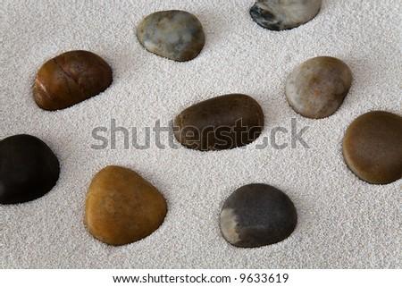White sand and pebble stones - stock photo