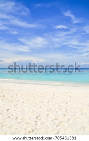 White sand beach, Beautiful sky and blue ocean in Similan Islands at Thailand.