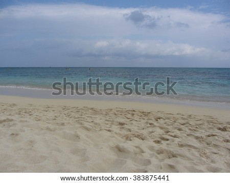 White sand beach before storm in Oahu, Hawaii
