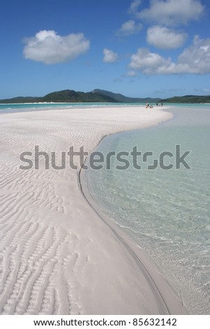 White sand beach of Hill's inlet in the Whitsunday islands off the Queensland coast of Australia - stock photo