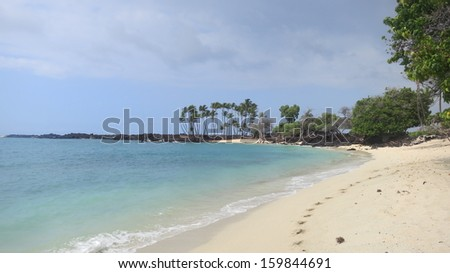 White sand beach of Makalawena on the Big Island of Hawaii - stock photo