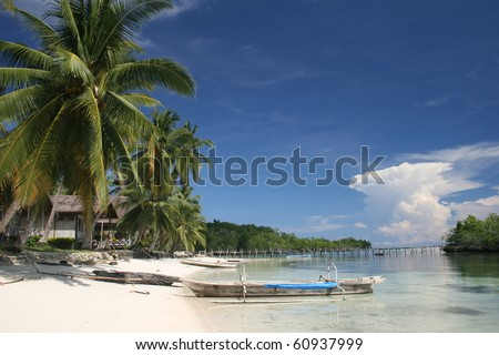 White sand beach on Togian islands - stock photo