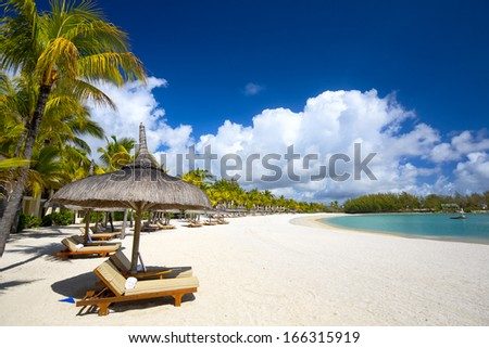 White sand beach with lounge chairs and umbrellas in Mauritius Island - stock photo
