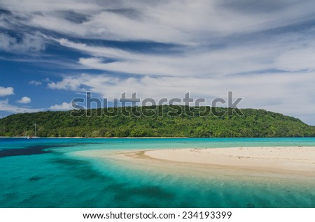 White sand beaches in Tonga - stock photo