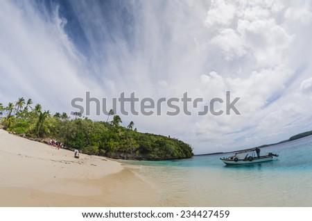 White sand beaches in Tonga - stock photo