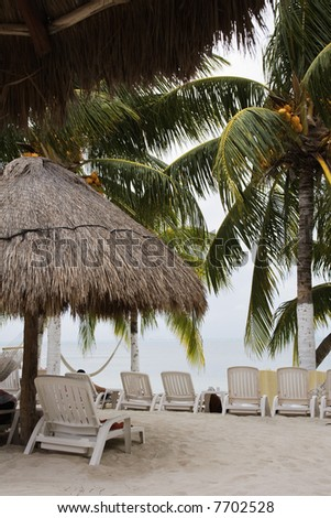 White sand beaches of Cancun on the Yucatan Peninsula in Quintana Roo Mexico - stock photo