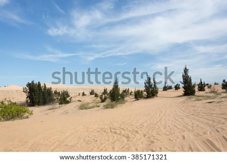 white sand desert in Mui Ne province, Vietnam - stock photo