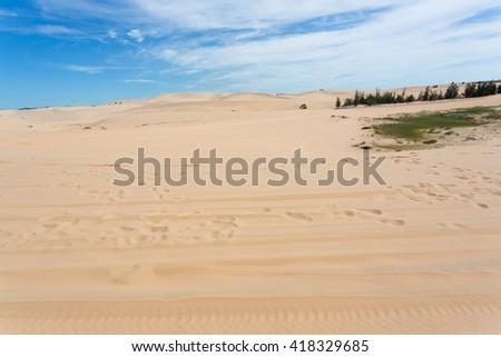 white sand dune desert in Mui Ne, Vietnam - stock photo