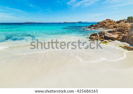 white sand in Capriccioli beach, Sardinia - stock photo