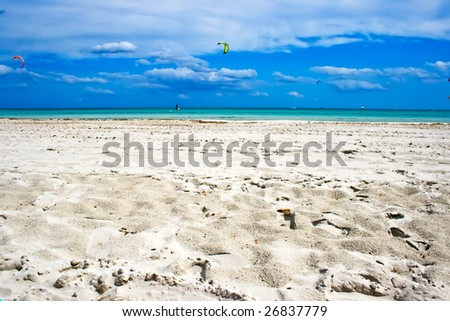 White sand of the beach in San Teodoro, Sardinia, Italy - stock photo