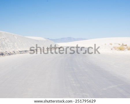 White Sands National Monument is a field of white sand dunes composed of gypsum crystals. It is the largest gypsum dune field in the world. - stock photo