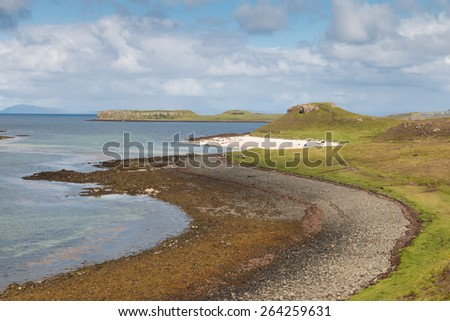 White sands of Coral Beach close to Dunvegan, Isle of Skye, Scotland - stock photo