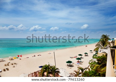 White sands & turquoise waters of Seven Mile Beach, Grand Cayman - stock photo